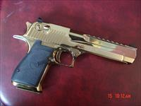 Magnum Research Desert Eagle,50AE,rare high gloss Titanium gold,top rail,an awesome showpiece hand cannon-6