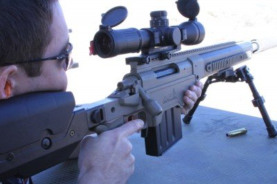 Ben got to shoot this suppressed .338 Lapua Magnum at Media Day. APO does also make the suppressors by the way, but what we found really amazing was that this was a chassis product, not a custom rifle. We only saw the folding stock versions that day.