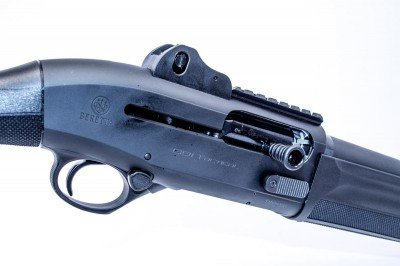 The Beretta 1301 Tactical is all business with ghost ring sights and a rail for optics.