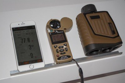 Bushnell's ARC CONX (right) shown with Kestrel meter and smartphone app.