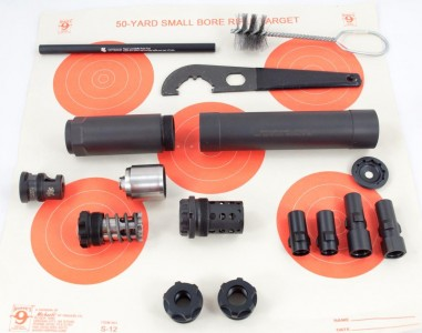 """The Griffin Armament Optimus is really more of a kit than a single suppressor. Here are some of the included and optional """"parts."""""""