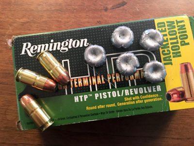 Remington's HTP .45 ACP 185-grain self-defense ammo comes in 50-round boxes.