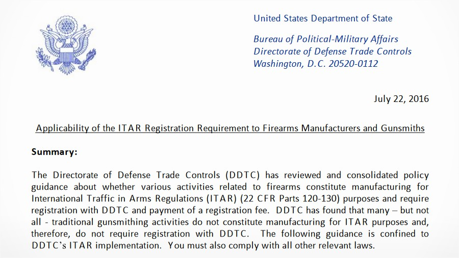 New Itar Guidelines Look A Lot Like Executive Gun Control