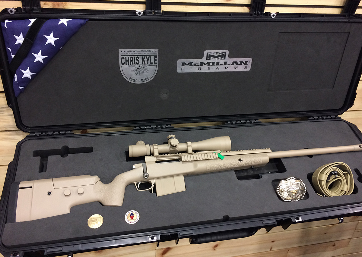 Kyle's TAC-338 comes with a case from Patriot Cases, sling, and belt buckle.